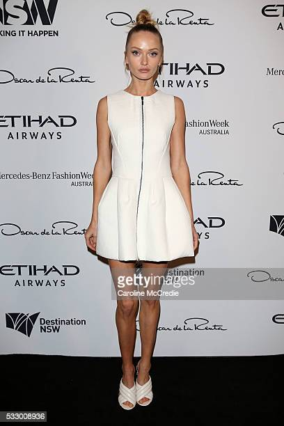 Annabella Barber attends the Oscar de la Renta show presented by Etihad Airways at MercedesBenz Fashion Week Resort 17 Collections at Carriageworks...