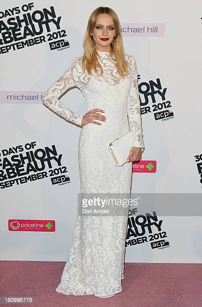 Annabella Barber poses during the 30 Days of Fashion Beauty Launch at Sydney Town Hall on August 30 2012 in Sydney Australia