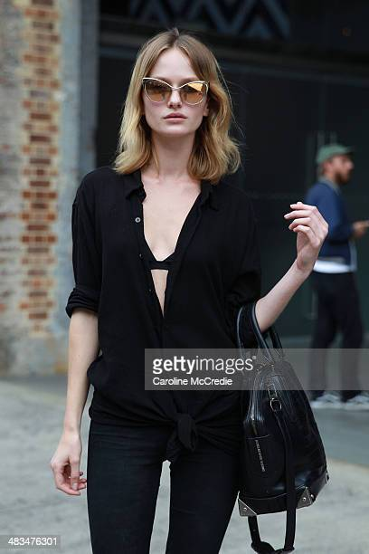 Annabella Barber poses wearing Nigella shoes Rag n Bones jeans Alexander Wang handbag and Tom Ford sunglasses at MercedesBenz Fashion Week Australia...