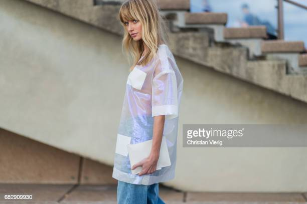 Annabella Barber wearing a sheer top Surrounded by the ghosts and denim jeans outside Dion Lee during MercedesBenz Fashion Week Resort 18 Collections...