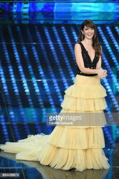 Annabelle Belmondo attends the third night of the 67th Sanremo Festival 2017 at Teatro Ariston on February 9 2017 in Sanremo Italy