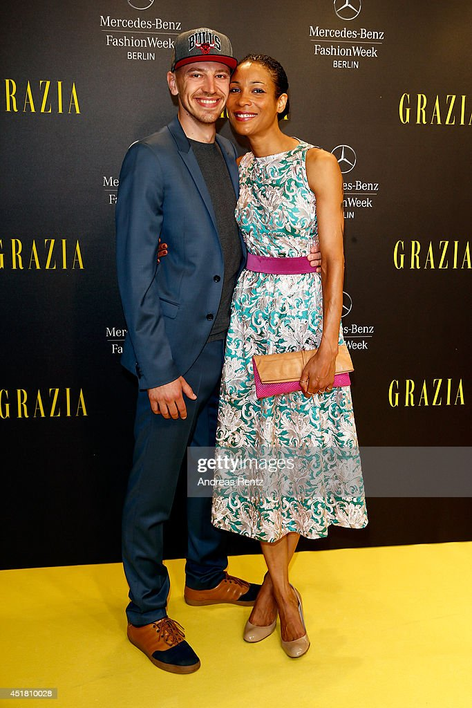Annabelle Mandeng and her boyfriend Matthias Pieper arrives for the Opening Night by Grazia fashion show during the Mercedes-Benz Fashion Week Spring/Summer 2015 at Erika Hess Eisstadion on July 7, 2014 in Berlin, Germany.