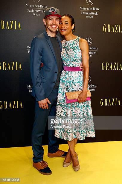 Annabelle Mandeng and her boyfriend Matthias Pieper arrives for the Opening Night by Grazia fashion show during the MercedesBenz Fashion Week...