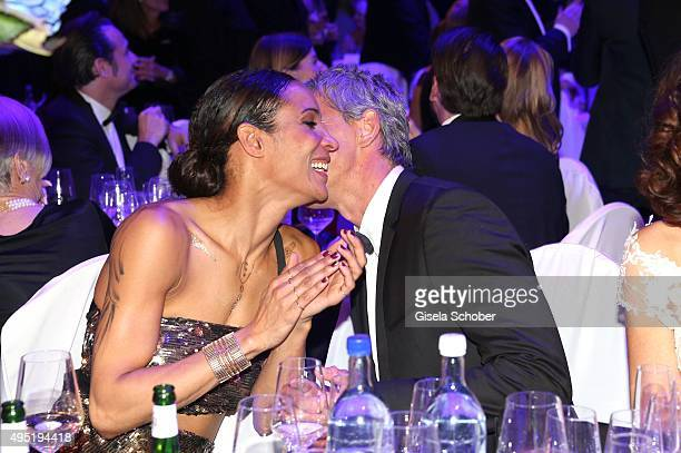 Annabelle Mandeng and her partner Hajo during the Leipzig Opera Ball 2015 on October 31 2015 in Leipzig Germany