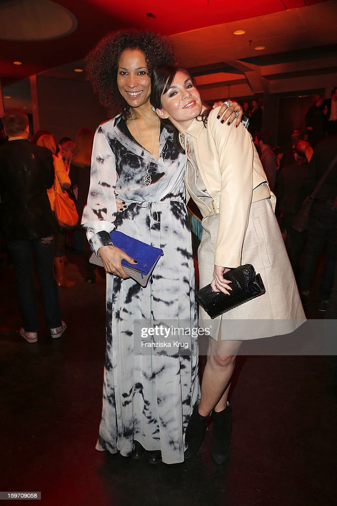Annabelle Mandeng and Nadine Warmuth attend the 'Michalsky Style Nite After Show Party - Mercesdes-Benz Fashion Week Autumn/Winter 2013/14' at Tempodrom on January 18, 2013 in Berlin, Germany.