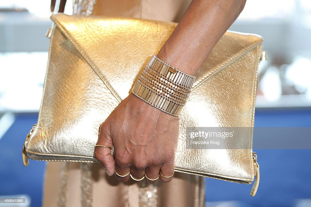 Annabelle Mandeng (handbag detail) attends the christening of the ship 'Mein Schiff 3' on June 12, 2014 in Hamburg, Germany.