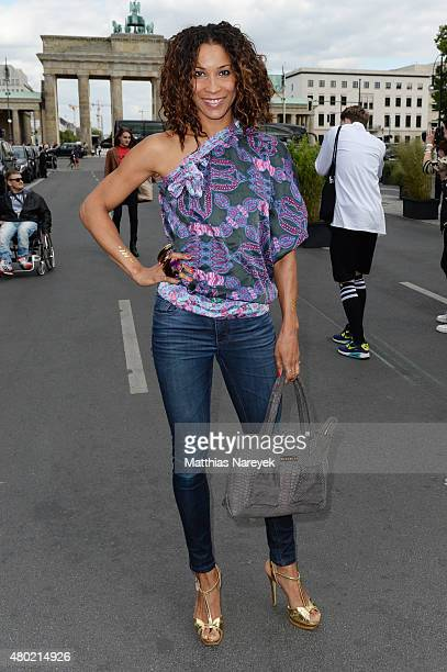 Annabelle Mandeng attends the Ewa Herzog show during the MercedesBenz Fashion Week Berlin Spring/Summer 2016 at Brandenburg Gate on July 10 2015 in...