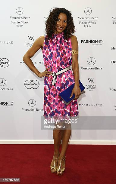 Annabelle Mandeng attends the Marc Cain show during the MercedesBenz Fashion Week Berlin Spring/Summer 2016 at Brandenburg Gate on July 7 2015 in...