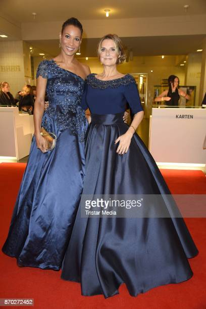 Annabelle Mandeng in a dress of Guido Maria Kretschmeri and Kim Fisher in a dress of Uwe Herrmann attend the Leipzig Opera Ball on November 4 2017 in...