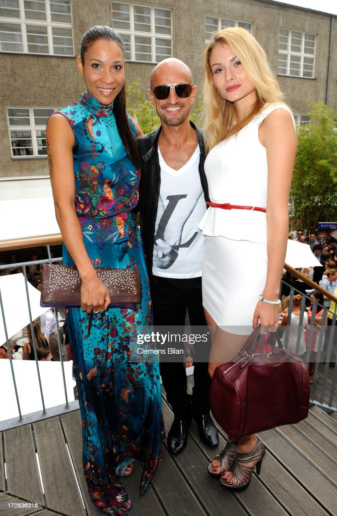 Annabelle Mandeng, Peyman Amin and Kathy Sanchez attend the Gala Fashion Brunch at Ellington Hotel on July 5, 2013 in Berlin, Germany.
