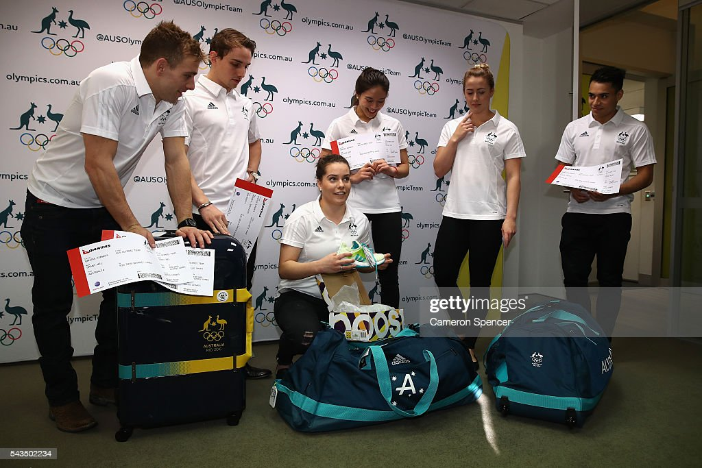 Annabelle Smith goes through her kit bag with other members of the diving team during the Australian Olympic Games diving team announcement at the Museum of Contemporary Art on June 29, 2016 in Sydney, Australia.