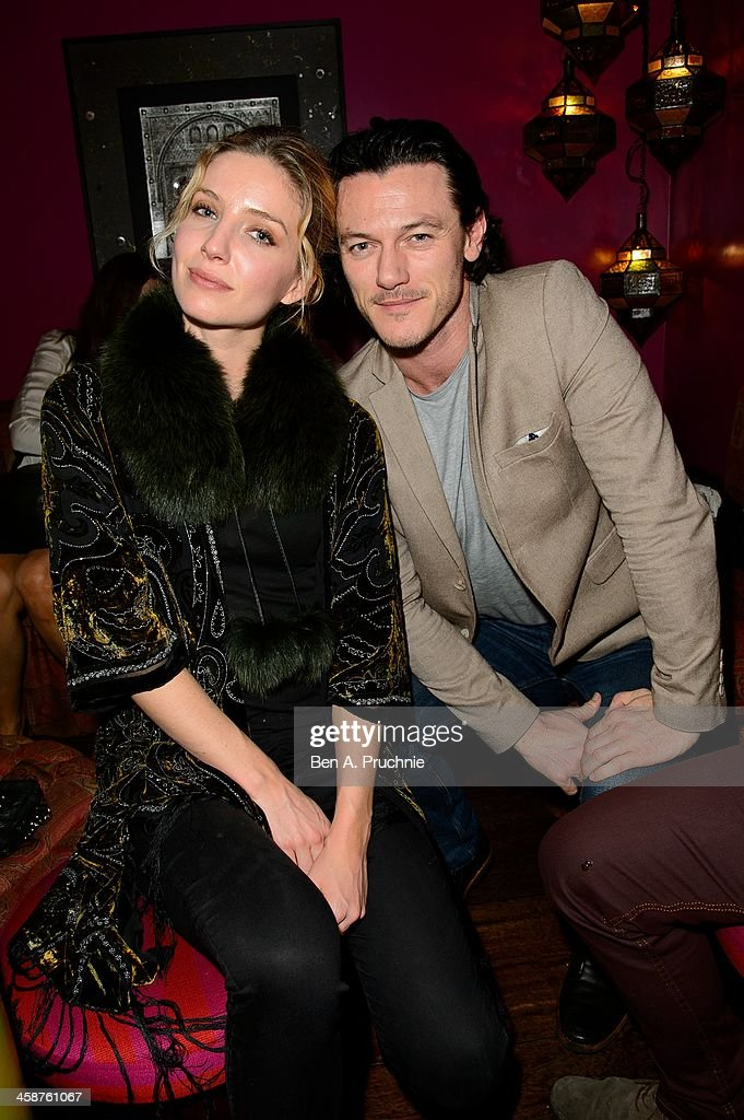 Annabelle Wallis and Luke Evans attend the August: Osage County drinks & screening at Soho Hotel on December 21, 2013 in London, England.