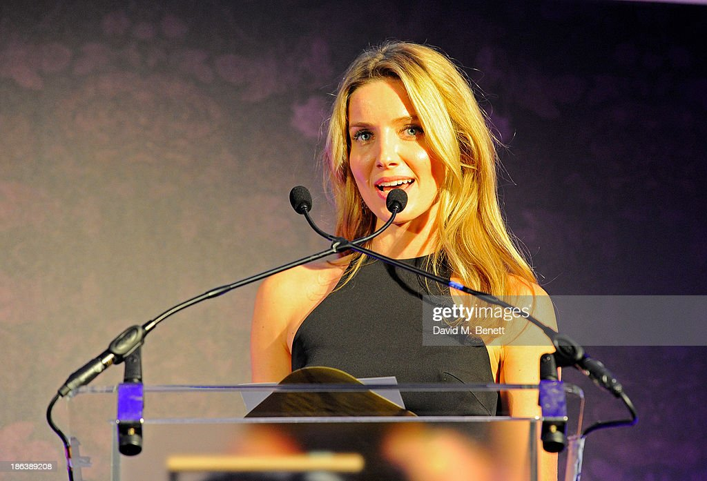 Annabelle Wallis presents the Best buying team award onstage at The WGSN Global Fashion Awards at the Victoria & Albert Museum on October 30, 2013 in London, England.