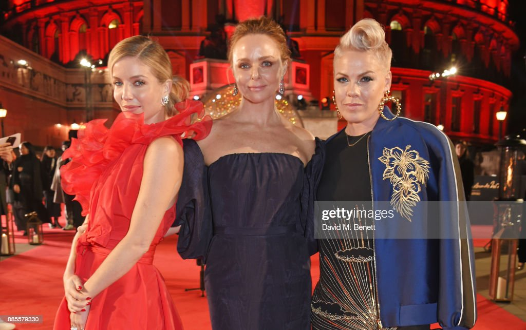 Annabelle Wallis, Stella McCartney and Pink attend The Fashion Awards 2017 in partnership with Swarovski at Royal Albert Hall on December 4, 2017 in London, England.