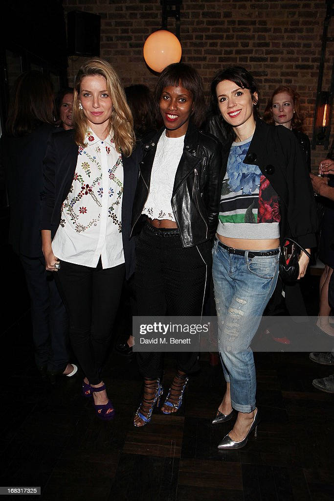 Annabelle Wallis, Susan Bender, Lara Bohinc attends the BLK DNM Dinner with Johan Lindeberg and Kim Sion at Beagle Restaurant on May 8, 2013 in London, England.