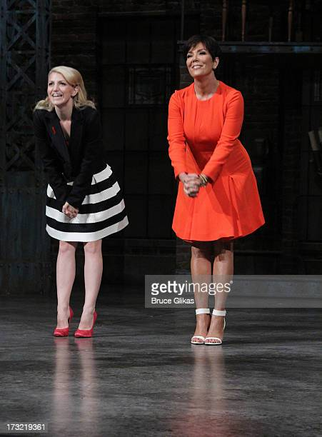 Annaleigh Ashford and Kris Jenner filming on location at 'Kinky Boots' on Broadway for the new talk show 'Kris' at The Al Hirshfeld Theater on July 9...
