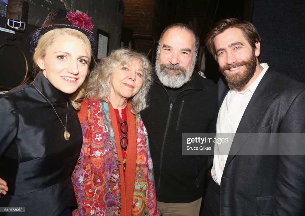 Annaleigh Ashford as 'Dot', Kathryn Grody, husband Mandy Patinkin (who played the role of 'George' in the 1984 Original Production) and Jake Gyllenhaal as 'George' pose backstage at the hit musical revival of 'Sunday in The Park with George' on Broadway at The Hudson Theatre on March 12, 2017 in New York City.