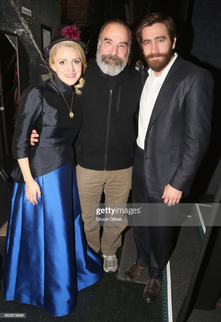 Annaleigh Ashford as 'Dot', Mandy Patinkin (who played the role of 'George' in the 1984 Original Production) and Jake Gyllenhaal as 'George' pose backstage at the hit musical revival of 'Sunday in The Park with George' on Broadway at The Hudson Theatre on March 12, 2017 in New York City.
