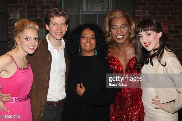 Annaleigh Ashford Stark Sands as 'Charlie' Diana Ross Billy Porter as 'Lola' and Lena Hall pose backstage at 'Kinky Boots' on Broadway at The Al...