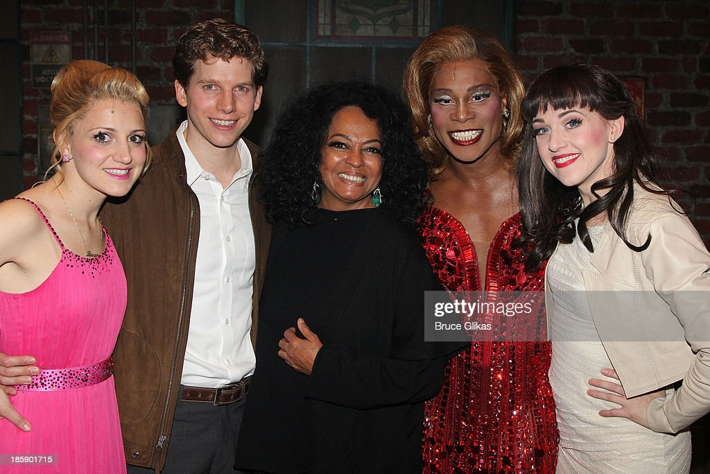 Annaleigh Ashford, Stark Sands as 'Charlie' , Diana Ross, Billy Porter as 'Lola' and Lena Hall pose backstage at 'Kinky Boots' on Broadway at The Al Hirshfeld Theater on October 25, 2013 in New York City.