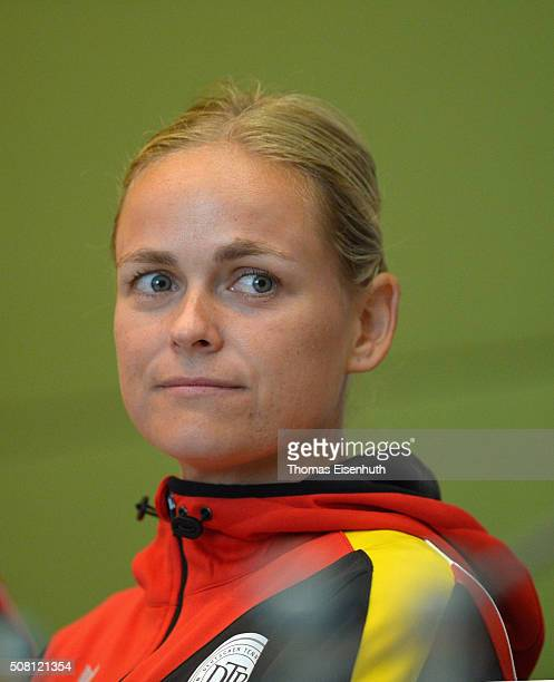 AnnaLena Groenefeld attends a DTB press conference prior to the Fed Cup match against Switzerland at Messe Leipzig on February 3 2016 in Leipzig...