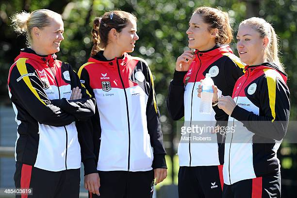 AnnaLena Groenefeld Julia Goerges Anna Petkovic and Angelique Kerber of Germany arrive for the official draw ahead of the Fed Cup Semi Final tie...
