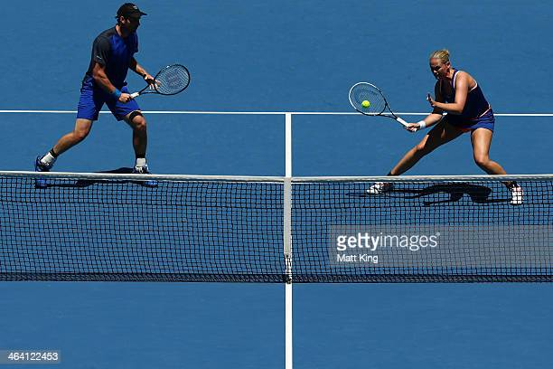 AnnaLena Groenefeld of Germany and Alexander Peya of Austria in action in their second round mixed doubles match against Jie Zheng of China and Scott...