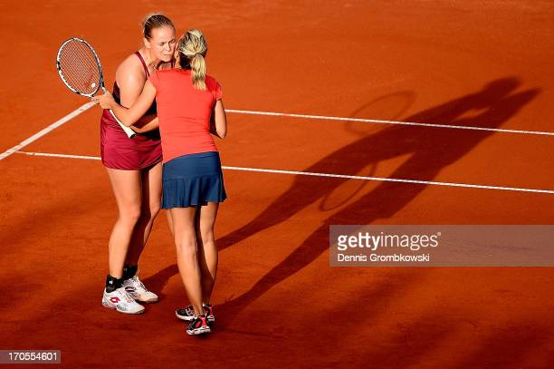 AnnaLena Groenefeld of Germany and Kveta Peschke of Czech Republic celebrate after winning their doubles semifinal match against Eva Hrdinova of...