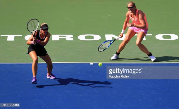 AnnaLena Groenefeld of Germany and Kveta Peschke of Czech Republic compete against Ekaterina Makarova and Elena Vesnina of Russia in the doubles...