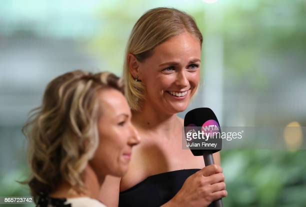 AnnaLena Groenefeld of Germany and Kveta Peschke of Czech Republic are interviewed during day 3 of the BNP Paribas WTA Finals Singapore presented by...