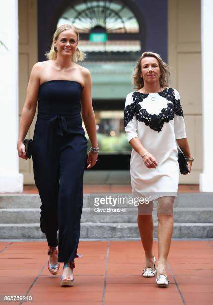 AnnaLena Groenefeld of Germany and Kveta Peschke of Czech Republic arrive for the Doubles Draw during day 3 of the BNP Paribas WTA Finals Singapore...