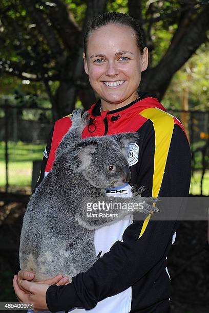 AnnaLena Groenefeld of Germany holds a koala during the official draw ahead of the Fed Cup Semi Final tie between Australia and Germany at Lone Pine...