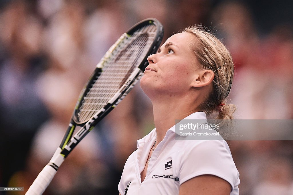 <a gi-track='captionPersonalityLinkClicked' href=/galleries/search?phrase=Anna-Lena+Groenefeld&family=editorial&specificpeople=193798 ng-click='$event.stopPropagation()'>Anna-Lena Groenefeld</a> of Germany looks dejected in her double match with Andrea Petkovic on Day 2 of the 2016 FedCup World Group Round 1 match between Germany and Switzerland at Messe Leipzig on February 7, 2016 in Leipzig, Germany.