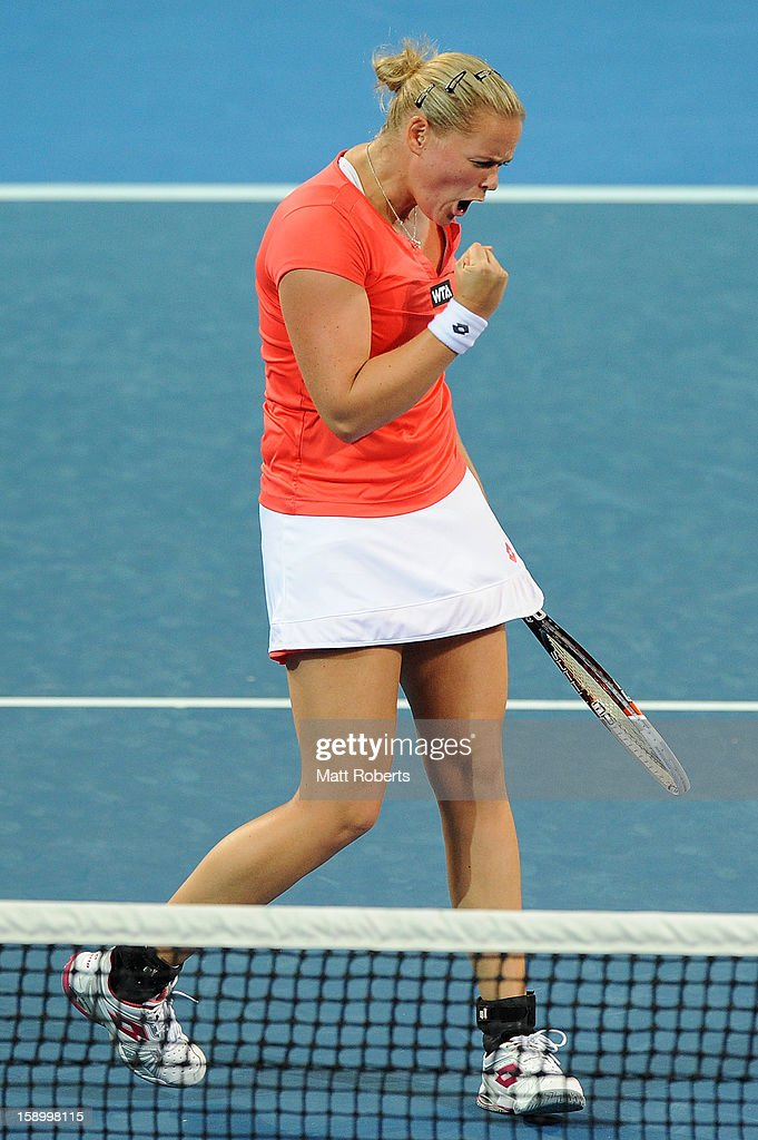 Anna-Lena Groenefeld reacts during her doubles final partnered with Kveta Peschke against Bethanie Mattek-Sands and Sania Mirza on day seven of the Brisbane International at Pat Rafter Arena on January 5, 2013 in Brisbane, Australia.