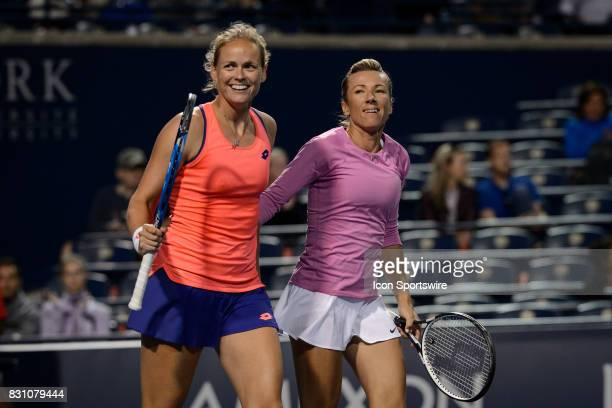 AnnaLena Groenenfeld of Germany and Kveta Peschke of Czech Republic celebrate after winning their semifinals match of the 2017 Rogers Cup tennis...