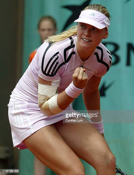 AnnaLena Groenfeld of Germany defeats Maria Kirilenko of Russia 62 76 in the third round of the French Open Paris France on June 2 2006