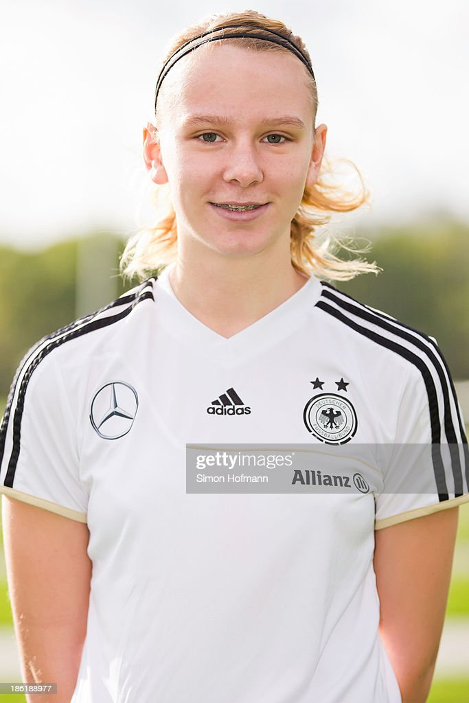 Annalena Rieke of Germany poses during the German Girls U15 national team presentation at Wiener Ring training ground on October 29, 2013 in Offenbach, Germany.