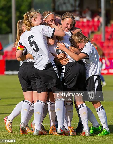 AnnaLena Stolze and team Germany celebrate the 10 during the Girl's Nordic Cup between U16 Germany and U16 Norway at Norre Aaby Stadium on June 29...