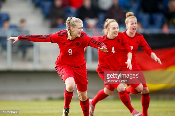 AnnaLena Stolze Sophia Kleinherne and Giulia Gwinn of Germany celebrate after scoring during the U17 Girl's Euro Qualifier match between Austria and...