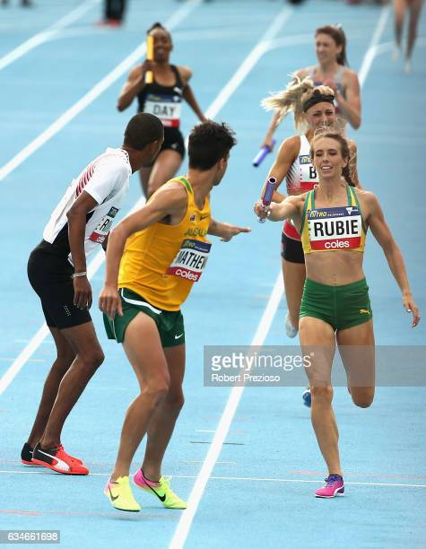 Annaliese Rubie of Australia competes in mixed 2000 sprint medley during the Melbourne Nitro Athletics Series at Lakeside Stadium on February 11 2017...