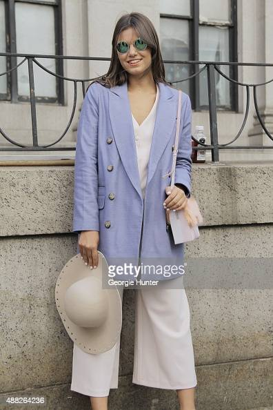 Annalisa Arcando is seen on the streets of Manhattan outside of the Jeremy Scott Spring 2016 fashion show at Skylight at Moynihan Station wearing...