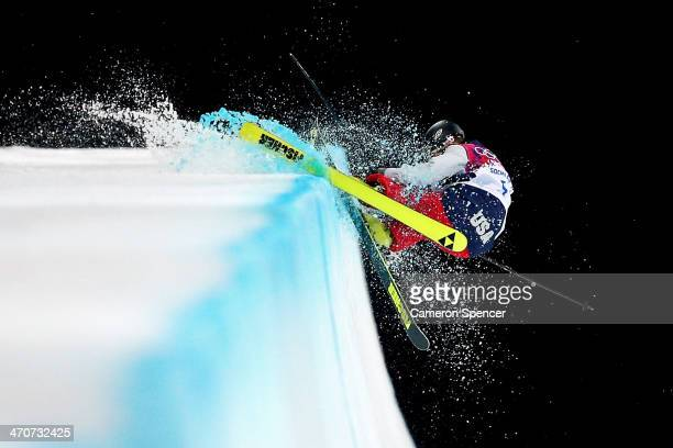 Annalisa Drew of the United States crashes in the Freestyle Skiing Ladies' Ski Halfpipe Finals on day thirteen of the 2014 Winter Olympics at Rosa...