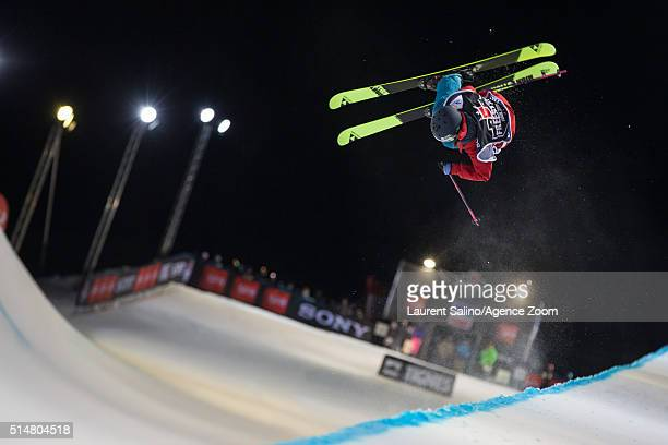 Annalisa Drew of the USA takes 2nd place during the FIS Freestyle Ski World Cup Men's and Women's Halfpipe Final on March 10 2016 in Tignes France
