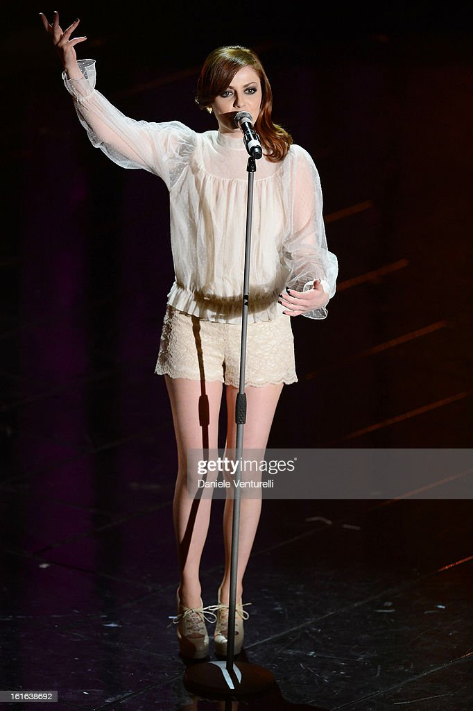 Annalisa Scarrone attend the second night of the 63rd Sanremo Song Festival at the Ariston Theatre on February 13, 2013 in Sanremo, Italy.