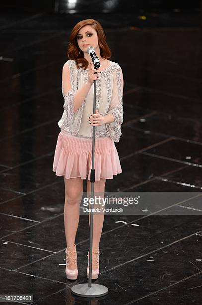 Annalisa Scarrone attend the third night of the 63rd Sanremo Song Festival at the Ariston Theatre on February 14 2013 in Sanremo Italy