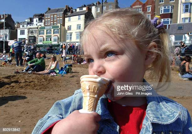 Annalise no age given enjoys an ice cream on Scarborough beach over the Easter bank holiday weekend