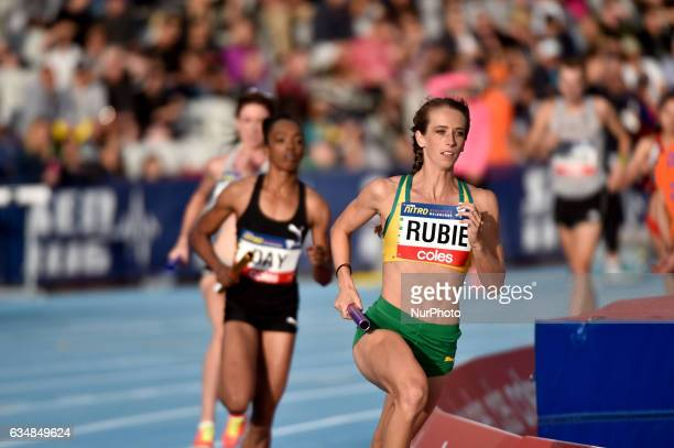Annalise Rubie of Australia competing in the Mixed 2000m Relay during Nitro Athletics at Lakeside Stadium on February 11 2017 in Melbourne Australia