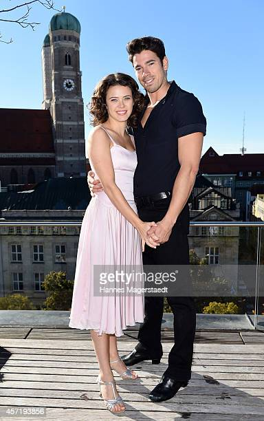 AnnaLouise Weihrauch and Mate Gyenei attend the 'Dirty Dancing' Musical Photocall at Hotel Bayerischer Hof on October 14 2014 in Munich Germany