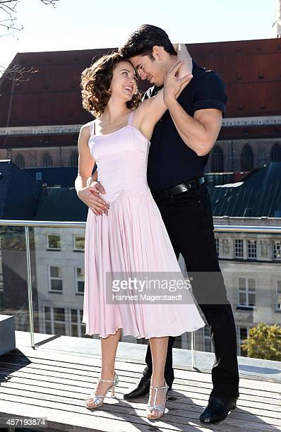 AnnaLouise Weihrauch and Mate Gyenei pose during the 'Dirty Dancing' Musical Photocall at Hotel Bayerischer Hof on October 14 2014 in Munich Germany
