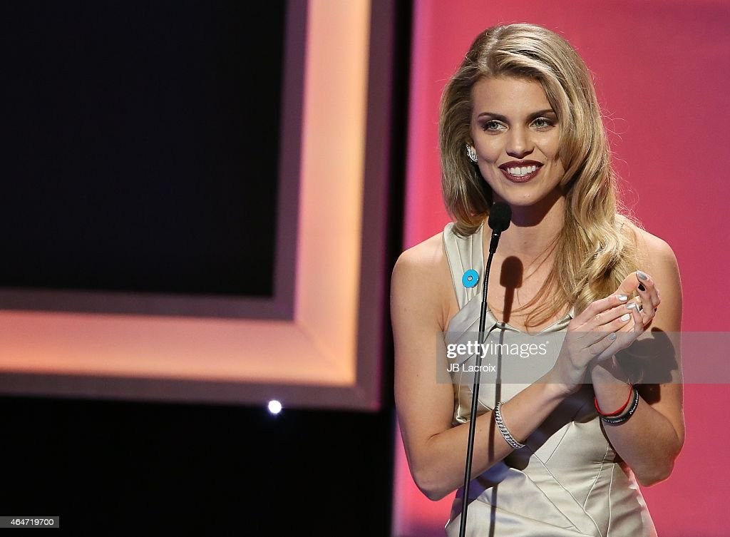 AnnaLynne McCord is seen on stage during the 3rd Annual Noble Awards held at the Beverly Hilton Hotel on February 27 2015 in Beverly Hills California
